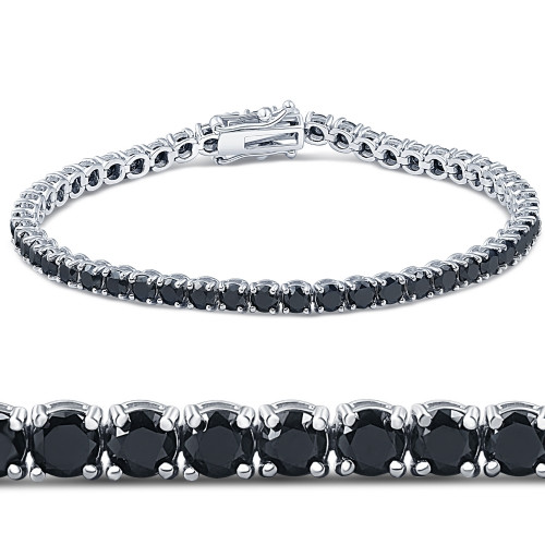 "7 1/4 Ct Black Diamond Tennis Bracelet 14k White Gold 7"" (Black, I2-I3)"