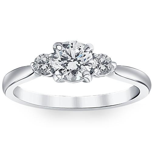 1 1/4Ct Three Stone Diamond (3/4ct Center) Engagement Ring White or Yellow Gold (G/H, I1-I2)