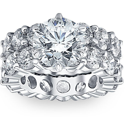 9 1/2Ct TW Diamond Eternity Engagement Wedding Ring Set 14k White Gold Lab Grown (G/H, VS1-VS2)