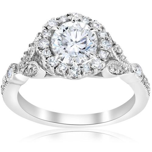 1 3/8ct Vintage Enhanced Diamond Halo Engagement Ring 14K White Gold (H-I, I1-I2)