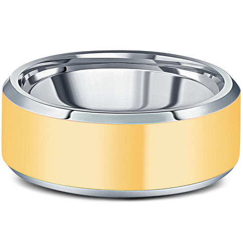 Men's Polished Tungsten & Gold Plated Two Tone 8mm Ring Wedding Band