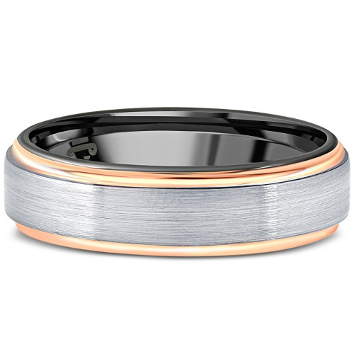Men's Brushed Black Tungsten & Rose Gold Plated Two Tone 6mm Ring Wedding Band