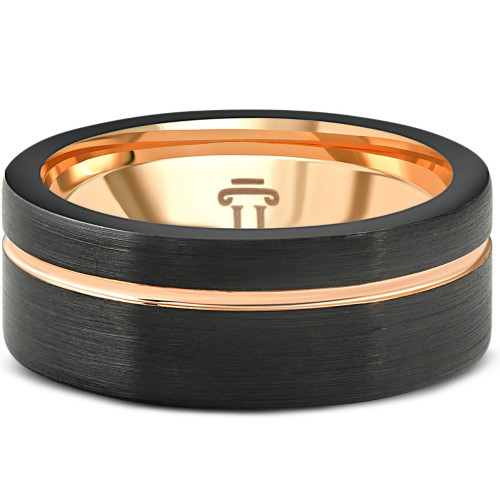 Men's Brushed Black Tungsten & Rose Gold Plated Two Tone 8mm Ring Wedding Band
