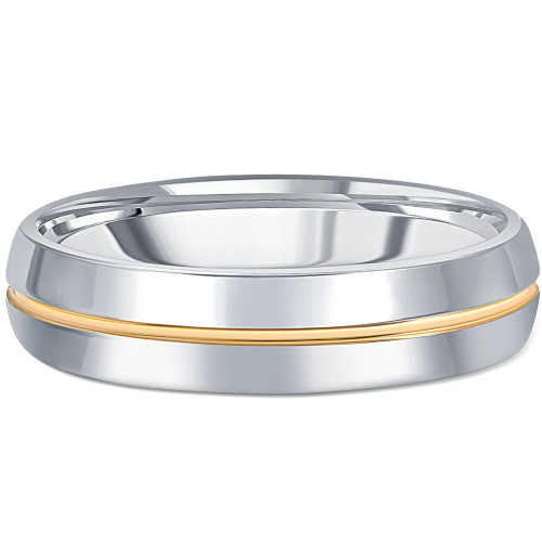 Men's Polished Tungsten & Gold Plated Two Tone 6mm Ring Wedding Band