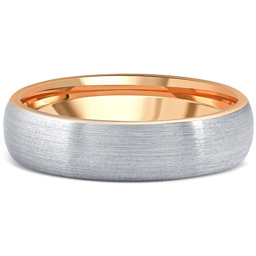 Men's Brushed Tungsten & Rose Gold Plated Two Tone 6mm Ring Wedding Band