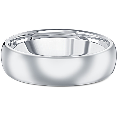 Men's Polished Tungsten 6mm Dome Comfort Fit Ring Wedding Band