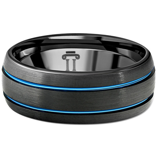 Men's Black & Blue Two Line Tungsten Ring Brushed Ring 8mm Wedding Band