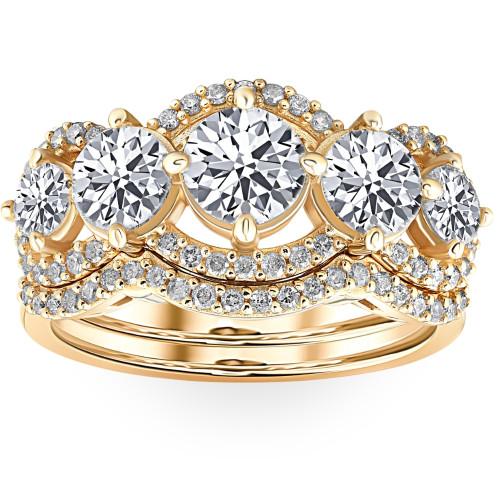 4 Ct TDW Lab Grown Diamond Engagement Wedding Ring Set in White or Yellow Gold (G/H, VS1-VS2)