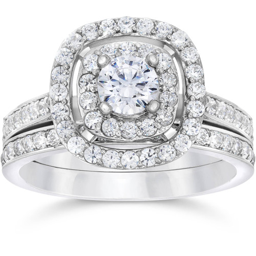 1 1/2ct Double Cushion Halo Real Diamond Engagement Wedding Ring Set White Gold (H/I, I1-I2)