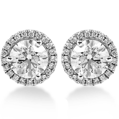 1.65 ct Diamond Halo Studs White Gold Round Brilliant Cut (G, SI1)