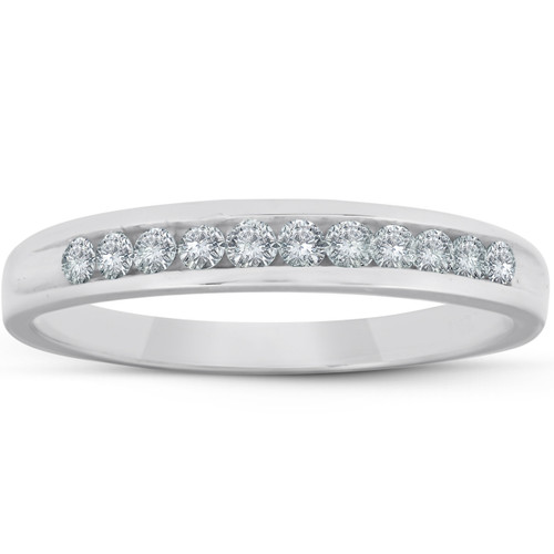 1/4ct Diamond Platinum Wedding Anniversary Guard Womens Ring (G/H, I1)
