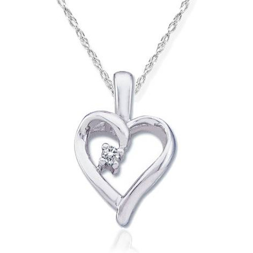"""Diamond Solitaire Heart Pendant 14K White Gold With 18"""" Chain (G, I2)"""