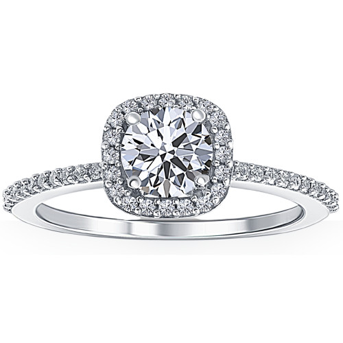 1 Ct Cushion Halo Diamond & Moissanite Engagement Ring 14k White Gold Lab Grown (F/G, VS1-VS2)