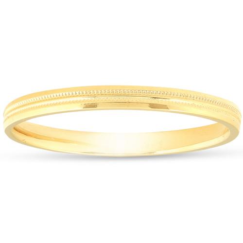 14K Yellow Gold 2mm Milgrain Wedding Comfort Ring Band