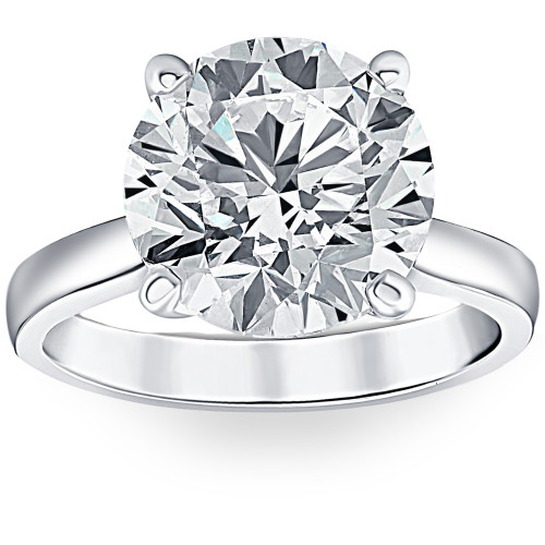 3 Ct Diamond Solitaire Lab Grown Engagement Ring in 14k White Gold (H/I, VS1-VS2)
