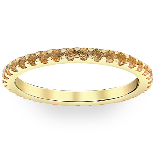 3/4Ct Genuine Citrine Eternity Ring Stackable Band 10k Yellow Gold