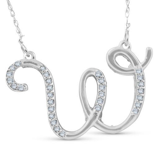 "1/4ct Diamond ""W"" Initial Pendant 18"" Necklace 14K White Gold (G/H, I2)"