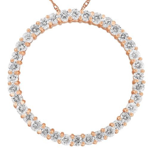 2ct Circle Diamond Pendant 14K Rose Gold (G/H, I2)