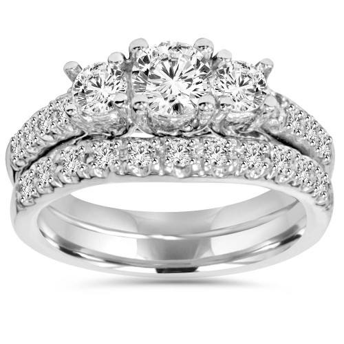 1 5/8ct Diamond Engagement 3-Stone Ring & Matching Wedding Band 14K White Gold (G/H, I1)