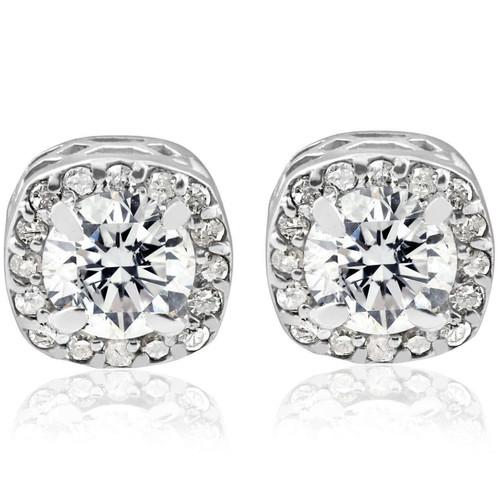 3/4CT Round Diamond Cushion Halo Studs 14K White Gold (G/H, I1-I2)