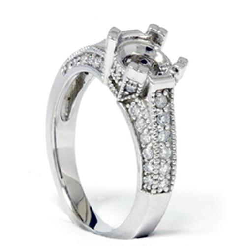 Pave Diamond Engagement Semi Mount Ring 14K White Gold Setting (G/H, I1)