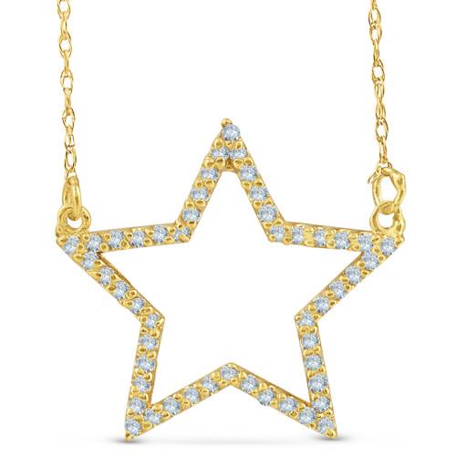 14k Yellow Gold 1/4Ct Diamond Star Pendant Necklace (I/J, I2-I3)