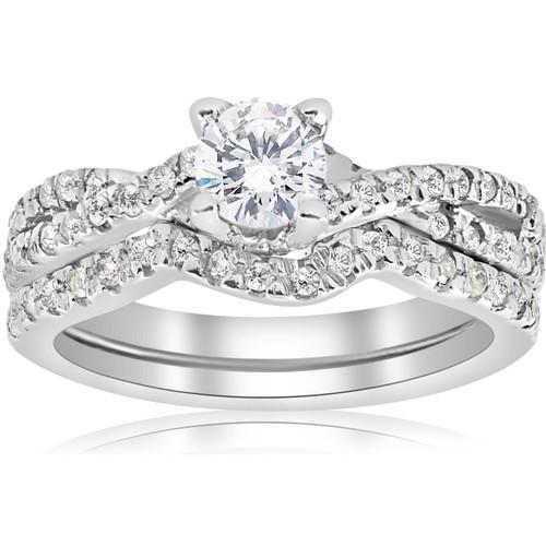 1ct Infinity Diamond Engagement Wedding Ring Set 14K White Gold (G/H, I1-I2)