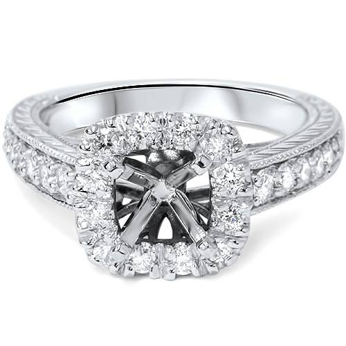 1/2ct Cushion Cut Halo Diamond Vintage Engagement Ring Setting (G/H, SI1-SI2)
