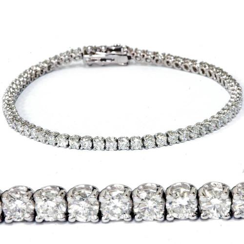 """H SI 4.22 ct Diamond Tennis Bracelet 7"""" 18K White Gold (G/H, SI2)"""