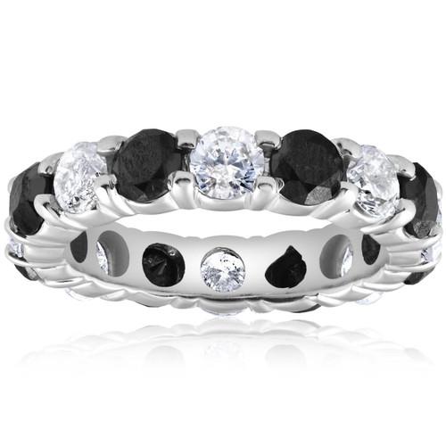 5ct Black & White Diamond Eternity Ring 14K White Gold (G/H, I2-I3)