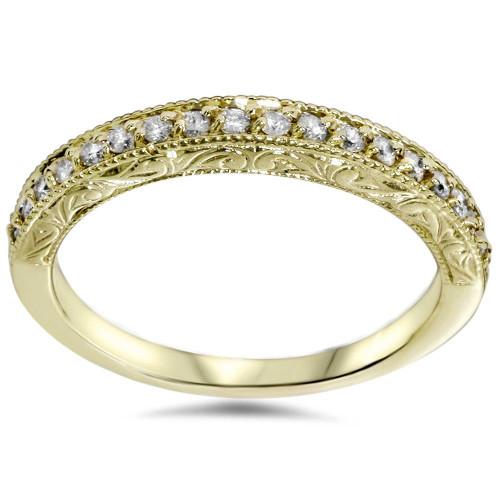 1/2ct Yellow Gold Diamond Vintage Wedding Ring 14K (G/H, I1-I2)