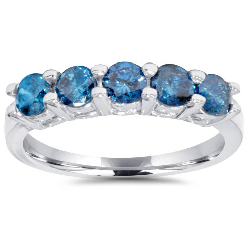 1ct Blue Diamond Wedding Five Stone Ring 14k White Gold (Blue, I1-I3)