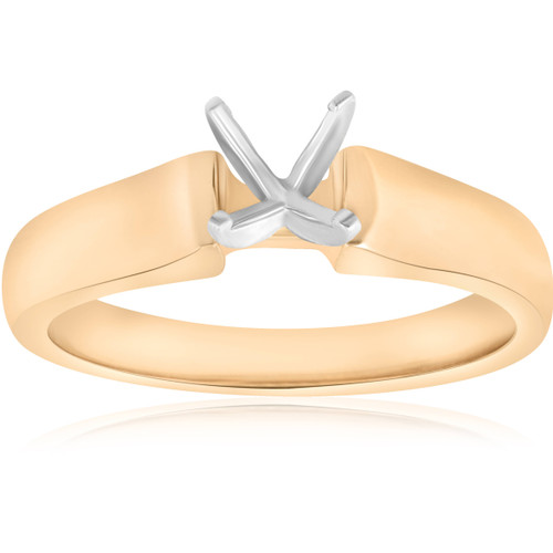 14K Yellow Gold Cathedral Semi Mount Engagement Ring Setting