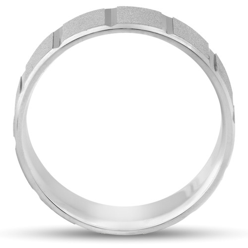 Satin 8mm Mens Comfort Fit Wedding Band 10K White Gold