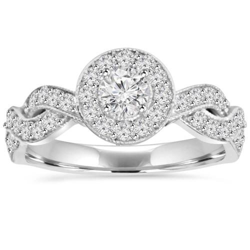 3/4Ct Vintage Diamond Infinity Halo Engagement Ring 14K White Gold (H/I, I1-I2)