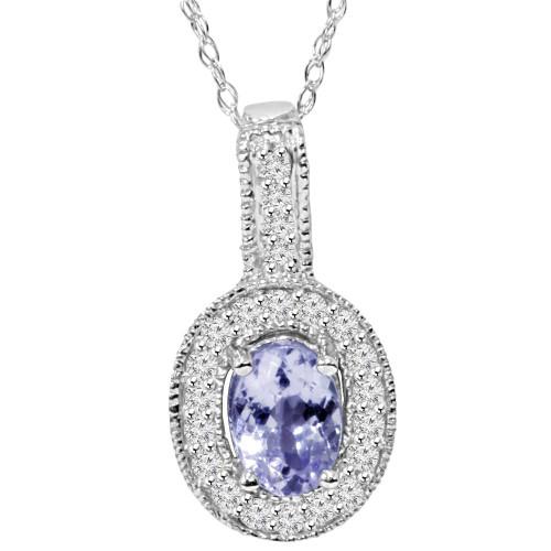 5/8 CT Tanzanite & Diamond Vintage Milgrain Halo Pendant 10K White Gold (G/H, I2)