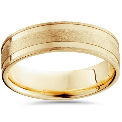 6mm 14K Yellow Gold Brushed Double Inlay Wedding Band