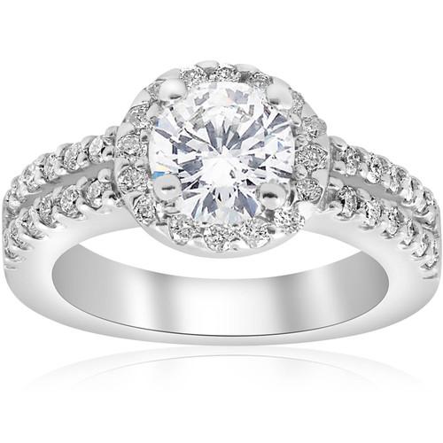 1 1/2ct Halo Diamond Engagement Ring 14K White Gold Double Row (G/H, I1-I2)