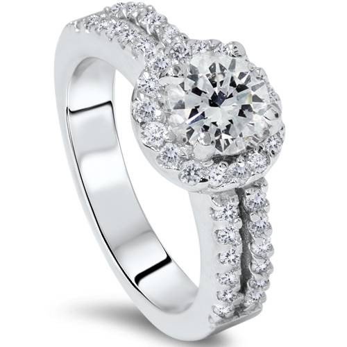 1 1/2ct Halo Diamond Engagement Ring 14K White Gold Double Row (G/H, I1-I2)