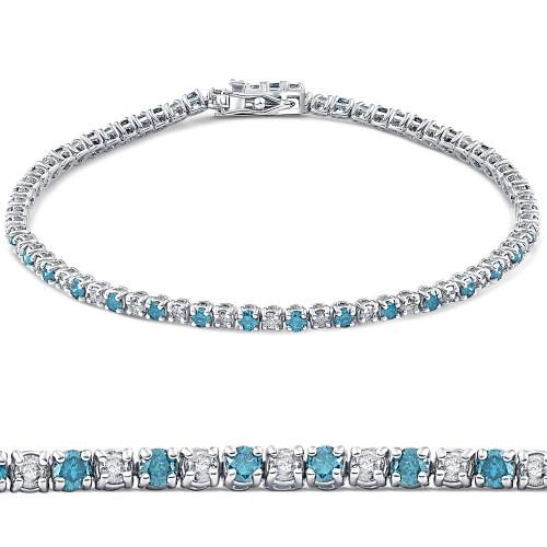 """2ct Blue & White Alternating Diamond Tennis Bracelet 14K White Gold 7"""" (G/H, I2)"""