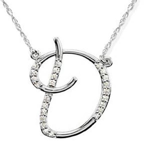 "1/4ct Diamond ""D"" Initial Pendant 18"" Necklace 14K White Gold (G/H, I2)"
