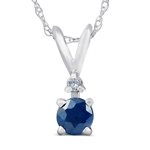 """Diamond & Blue Sapphire Solitaire Pendant 14K White Gold With 18"""" Chain (G, I2)"""