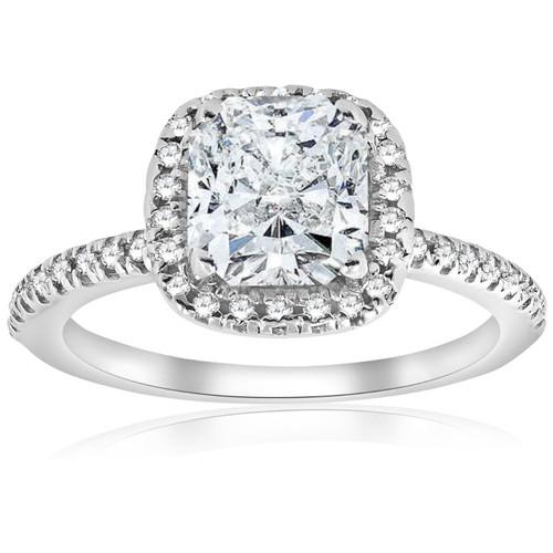 G/SI 14k White Gold 2 1/3ct Cushion Halo Diamond Engagement Ring Enhanced (H, SI2-I1)