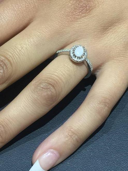 3/4ct Oval Opal & Diamond Halo Ring 14K White Gold (G/H, I1-I2)