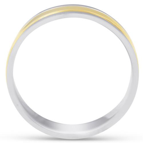 6mm 950 Platinum & 18k Gold Two Tone Wedding Band Ring