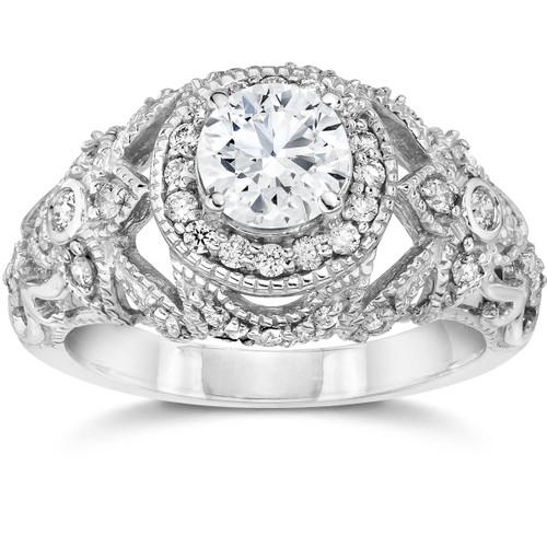 Emery 1 Ct Vintage Halo Antique Diamond Engagement 14K White Gold (H/I, I1)