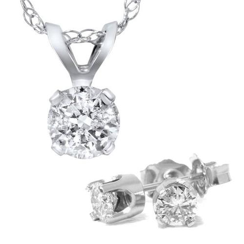 1 5/8 Carat Diamond Solitaire Necklace & Studs Earrings Set 14K White Gold (I-J, I2-I3)