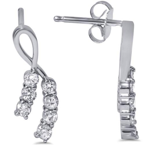 1/2ct Diamond Ribbon Journey Earrings 14K White Gold Studs (H, I2)