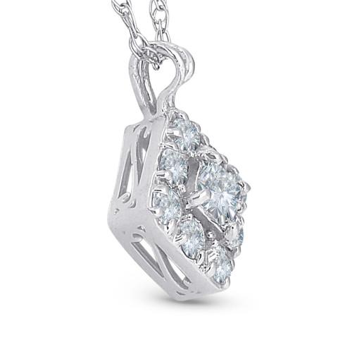 1/3ct Princess Cut Diamond Vintage Halo Pendant 10K White Gold (H-I, I1-I2)