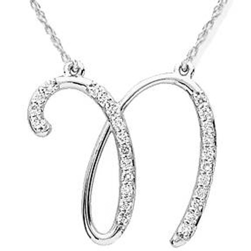 """1/4ct Diamond """"N"""" Initial Pendant 18"""" Necklace 14K White Gold (G/H, I2)"""
